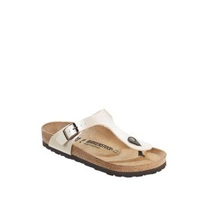 Birkenstock Gizeh Cream Leather Flip Flop Sandals